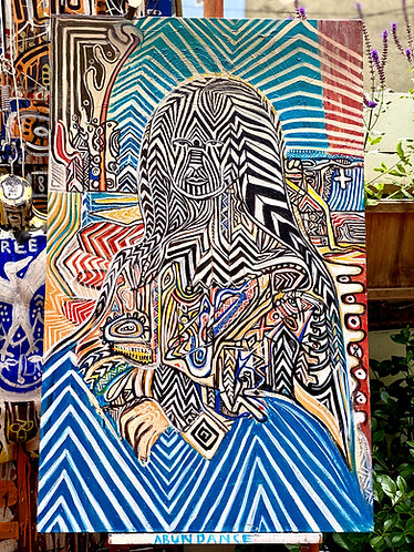 """Original hand-painted """"Mona Lisa"""" remix in Tribal Expressionism style"""
