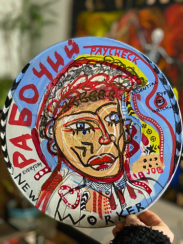 "Original Tribal Expressionist Acrylic  Painting ""Essential Worker"" on vinyl"