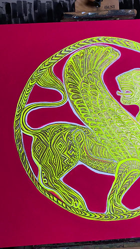 """Original Interactive painting """"Griffin"""" Scythian Gold Series #3"""