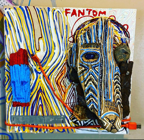 "Original Tribal Expressionist Painting, Mixed Media""Fantom"""
