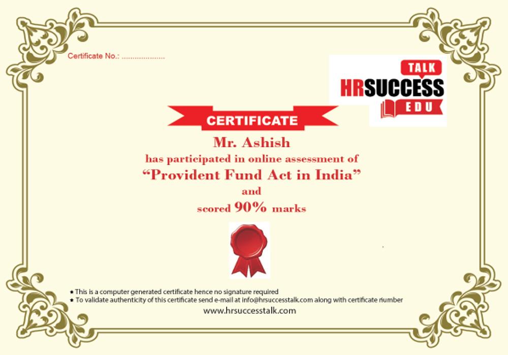 Certificate Sample-Online Assessement
