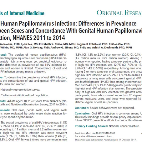 Oral HPV infection: differences in prevalence between sexes and concordance with genital HPV
