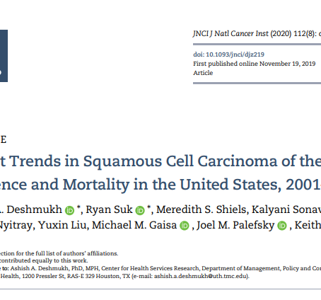 Recent trends in squamous cell carcinoma of the anus incidence and mortality in the US