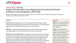 Analysis of Suicide After Cancer Diagnosis by US County-Level Income and Rural vs Urban Designation