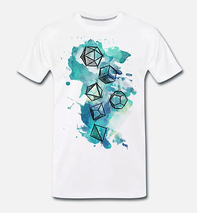 "T-shirt - white unisex Dice splatter ""Water"" dice (PREORDER)"