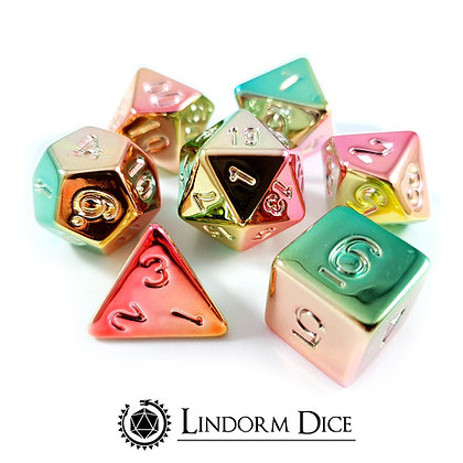 Watermelon electroplated metal dice (acrylic dice plated with metal)