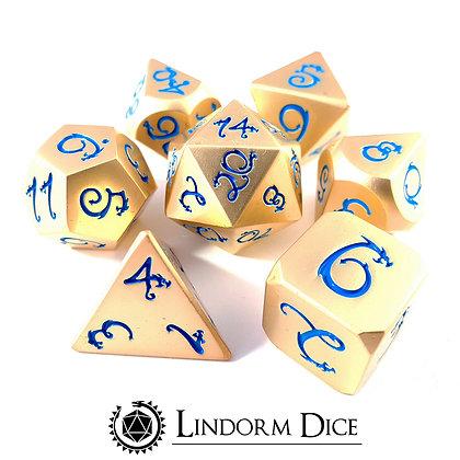 Dragon metal dice - gold / blue