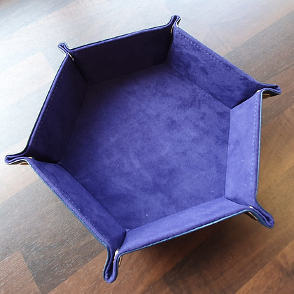 Dice tray -Blue Velvet and PU leather