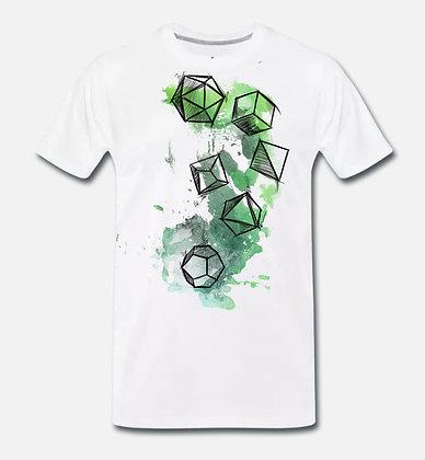 "T-shirt - white unisex Dice splatter ""Forest"" dice (PREORDER)"
