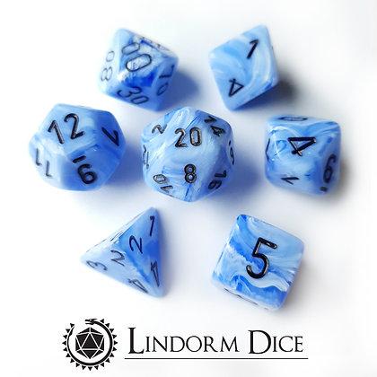 Chessex Vortex snow blue / Black 7 pcs set