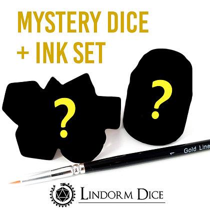 Mystery Inking set: dice set + Citadel paint + Size 1 brush