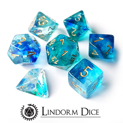 Chessex Nebula TM Oceanic / Gold 7 pcs set