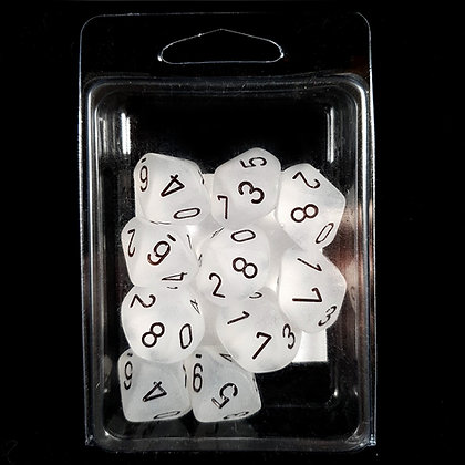 Chessex Frosted Clear w/black - 10 pcs D10