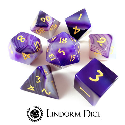 Agate - purple gem stone dice