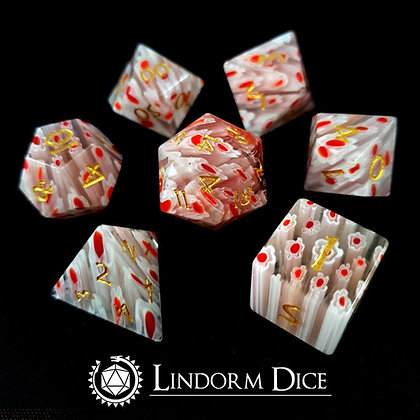 Glass blossom - infused glass dice