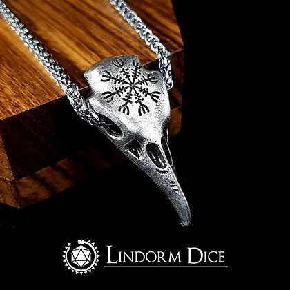 Aegishjalmur fear rune bird skull necklace