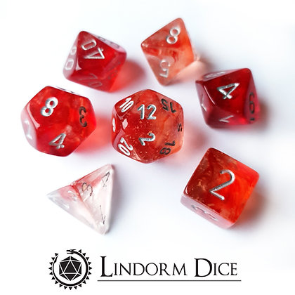 Chessex Nebula TM Red / Silver 7 pcs set