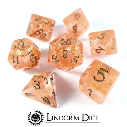 Little Dragon corp - Wedding Dice Peach and Gold