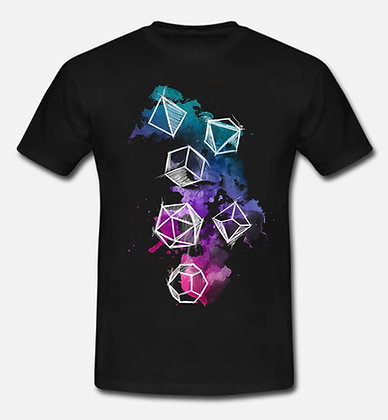 "T-shirt - black unisex Dice splatter ""Space"" dice"