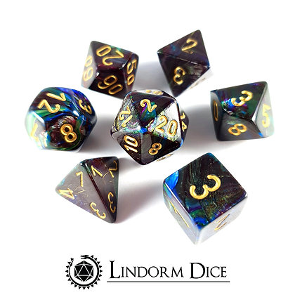 Chessex lustrous shadow W/gold