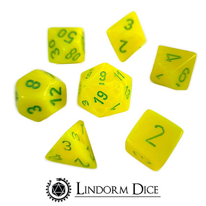 Chessex vortex electric yellow w/green (OOP)