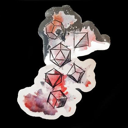 Transparent Vinyl sticker - Water color dice