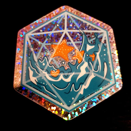 Holo sticker - D20 filled with water