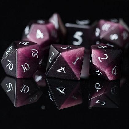 Purple cat eye gemstone dice