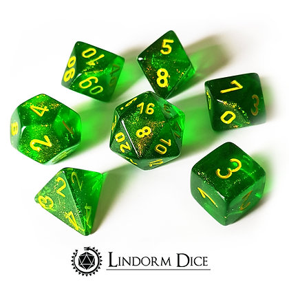 Chessex BorealisMaple green W/ yellow 7 pcs set