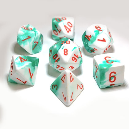 Chessex Gemini Mint green / white Lab dice