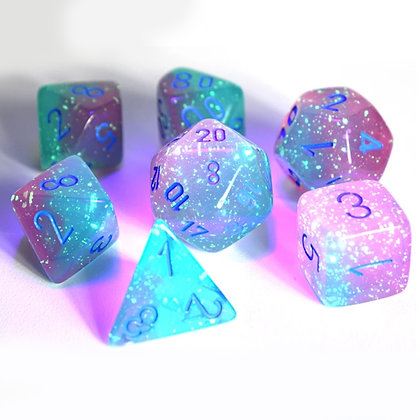 Chessex Gemini Gel green - Pink/ Blue Lab dice