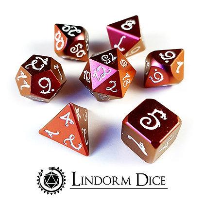 Dragon metal dice - red/pink shifting