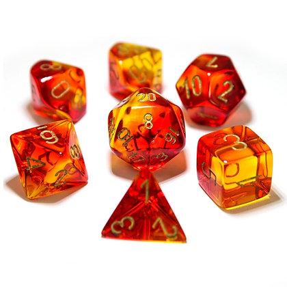 Chessex Gemini Translucent Red - Yellow Lab dice