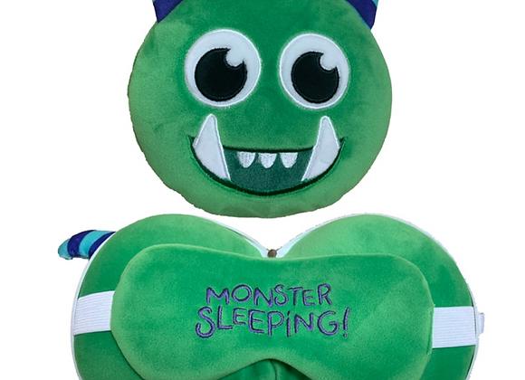 Green Monster Travel Pillow & Eye Mask Combo