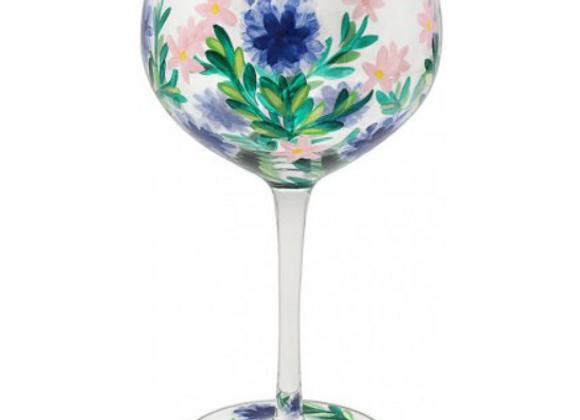 Hand Painted Cornflower Gin Glass