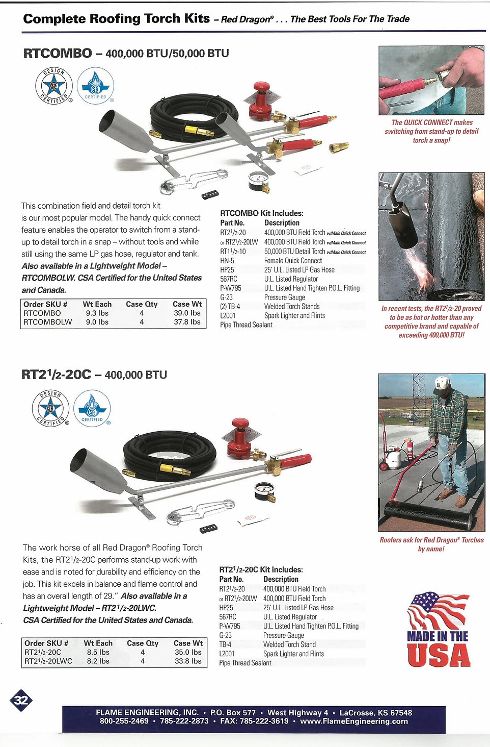 Flat roof gas torch kit