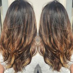brunette with #dimension _Stylist_ Callie_Model_ Dee Dee_#sombre #paintedhair #naturalcolor #chesnut
