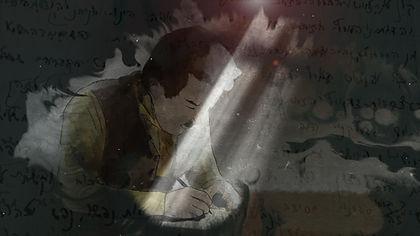 אנימציה של צבי כותב את מכתבו הבריחה הבית