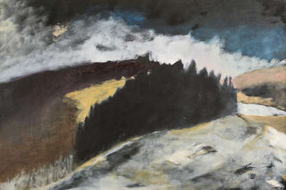 Painting of a forest and hills in the snow