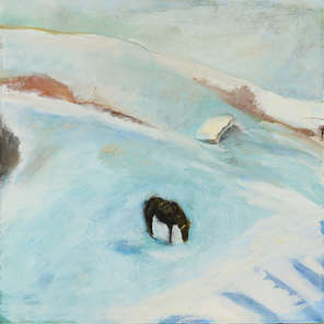 Painting of a horse in the snow