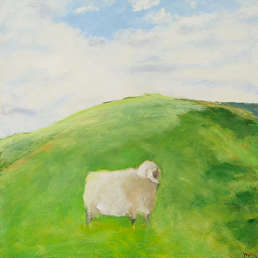 Painting of a sheep in a field
