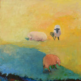 Painting of lambs in a field