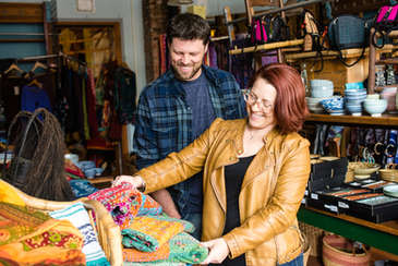 Couple shopping in a local store in Andes New York