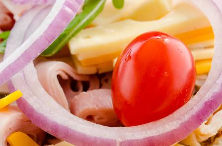 Closeup of a tomato in a salad in Delhi New York