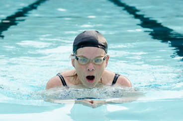 Closeup of a female swimmer in the Andes New York town pool