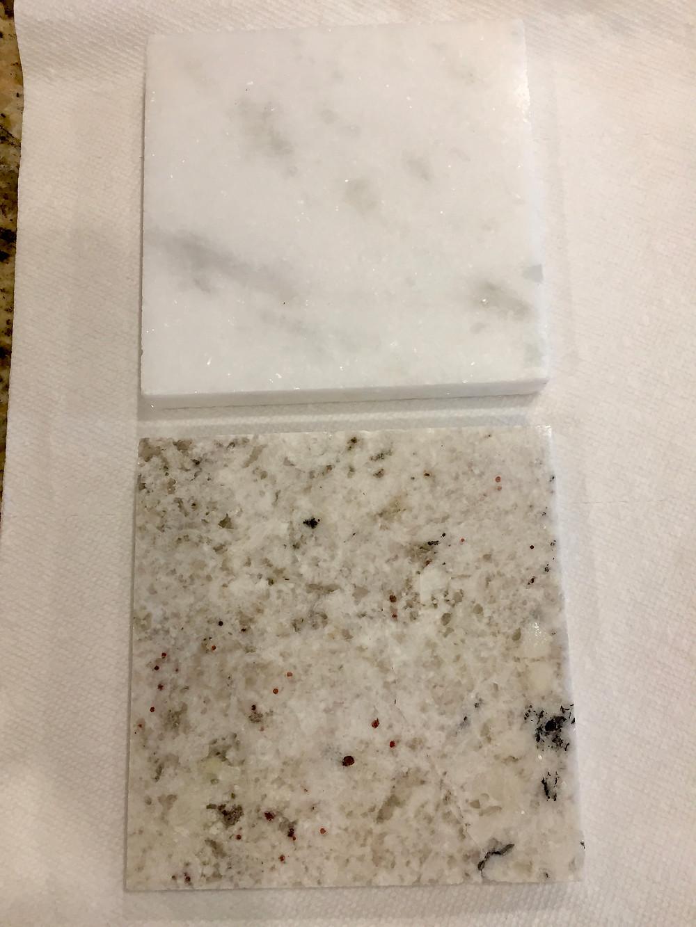Quartzite (top), granite (bottom)