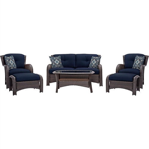 Outdoor 6-Piece Resin Wicker Patio Furniture Lounge Set with Navy Blue Cushions