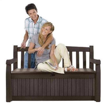 Outdoor Garden Bench with Arm Rest and Storage Box in Dark Brown