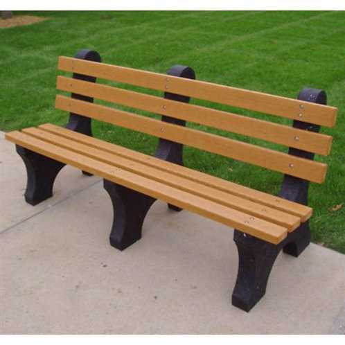Eco-Friendly Outdoor Plastic Park Bench in Brown Wood Color - Made in USA
