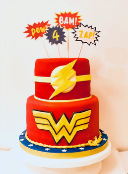 Superhero cakes that I designed together with the birthday boy's mommy